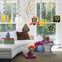 10 Birthday Decoration Happy 10th Birthday Party Silver Black Gold Foil Hanging Swirl Streamers Im Ten Years Old Today Birthday Hat Gold Star Ornament Party Present Supplies