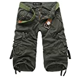 Pishon Men's Lightweight Cotton Casual Work Multi Pocket Military Cargo Shorts, Army Green, Tag Size 32=US Size 28