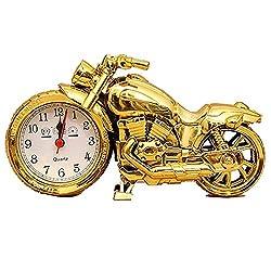 Vivian Unique Motorcycle Shape Alarm Clock Fashion Creative Plastic Motorbike Clock Home Desk Décor (Gold)
