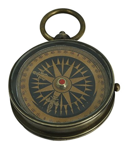 ShalinIndia Antique Floating Dial Travel Accessories 2.2 Inch Brass Compass Fits in Your Pocket Great as a Gift Perfect for Boating Camping Hiking and - Surveying Instruments Antique