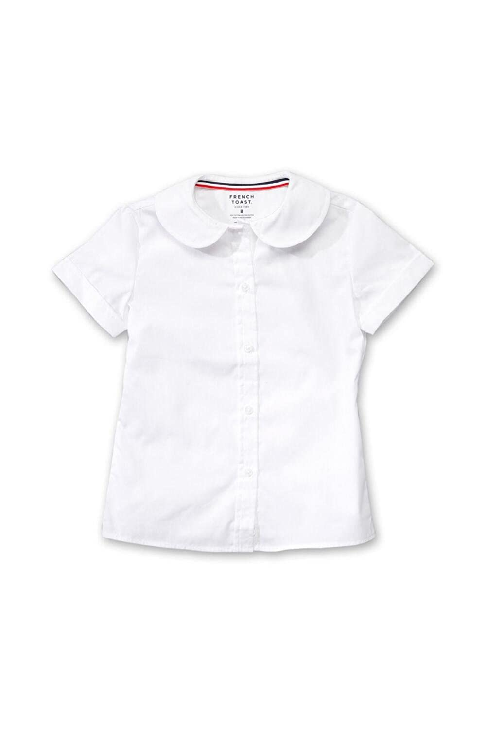 French Toast Little Girls' Short Sleeve Peter Pan Blouse (White - 6X) E9320-A