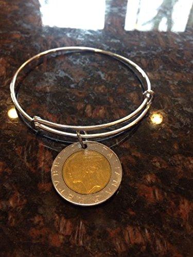 Engraved Message Band (Italy 500 lira expandable style wire bangle bracelet)