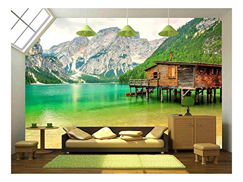 wall26 - Braies Lake in Dolomiti Mountains on a Cloudy Day,Trentino Alto Adige,Italy - Removable Wall Mural | Self-Adhesive Large Wallpaper - 66x96 inches