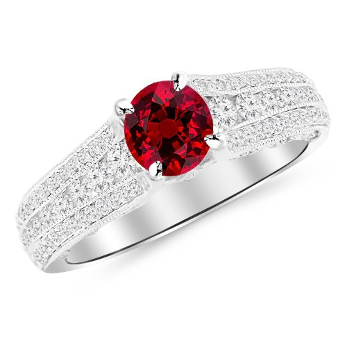1.7 Carat 14K White Gold Gorgeous Channel And Pave Set Graduating Round Designer Diamond Engagement Ring with a 1 Carat Natural Ruby Center (Heirloom Quality) Gorgeous Channel Set Ruby Ring