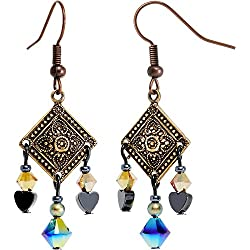 Body Candy Handcrafted Rustic Bohemian Charm Dangle Earrings Created with Swarovski Crystals