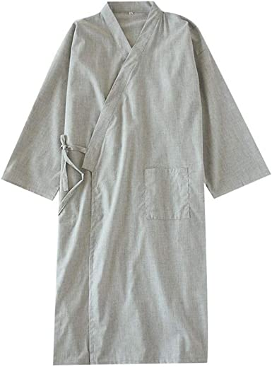 Camisón de Pijama de Kimono de algodón para Hombre japonés con Bata [G1, Talla L]