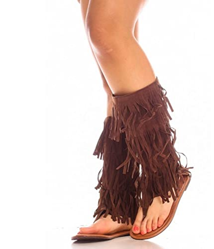 4f6cd0e37f New Womens Mid Calf Fringe Moccasin Dress Sandals Sexy Boot Style in Black  Tan, Brown, Red