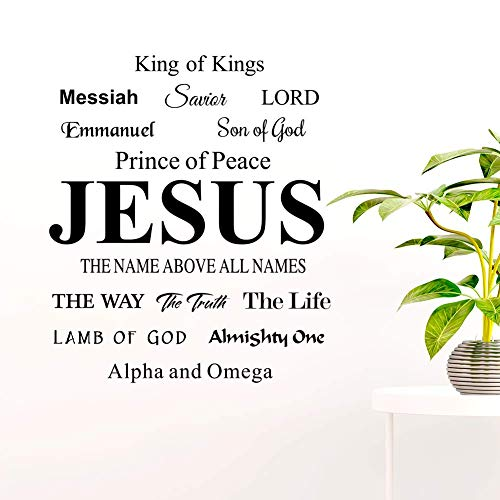 - melestore Jesus The Name Above All King of Kings Son of God Lamb of Lord Wall Decor Decal Sticker Quote Verse Adhesive Vinyl Art Saying Church Pray Lettering Decoration Christian Spiritual Scripture
