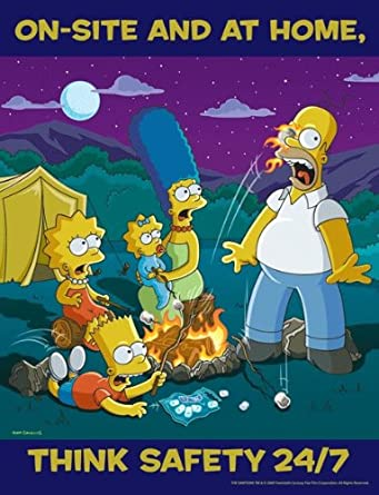 Simpsons Workplace Safety Poster - On-Site and At Home. Think Safety