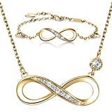 Billie Bijoux 925 Sterling Silver Necklace Bracelet One Sets Forever Love' Infinity Heart Love Jewelry Sets White Gold Plated Diamond Women Necklace Gift for Mother's Day (C-gold)