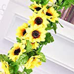Easytogoo-2-Pack-85ft-Foliage-Simulation-Silk-Flowers-Artificial-Fake-Sunflower-Garland-Plants-in-Yellow-for-Hanging-Wedding-Garland-Wedding-Wall-Decor-Home-Garden-Office-Outside-Decoration