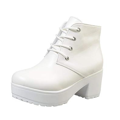 Logobeing Botas Mujer Invierno Botines Mujer Tacon Alto Plataforma Botas Altas Zapatos Mujer Tobillo Plano Zapatos Casuales de Cuero Oxford Botas ...