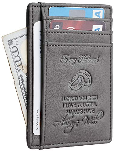 NapaWalli Wife To Husband Father Mother to Son Gift Best Anniversary Christmas Birthday Gifts Slim Wallet (Wife to Husband Renapa Grey)