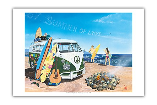 Pacifica Island Art Summer of Love - Classic VW Volkswagen Van on Beach with Surfboards - From an Original Color Painting by Scott Westmoreland - Master Art Print - 12 x 18in