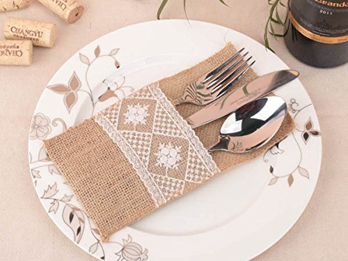 Table Silverware Holder Natural Burlap & Lace Flower Cutlery Pockets Knife & Fork Pockets by JetkyShop