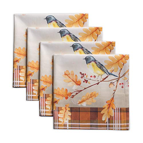 Maison d Hermine Oak Leaves 100% Cotton Set of 4 Napkins 20 Inch by 20 Inch.