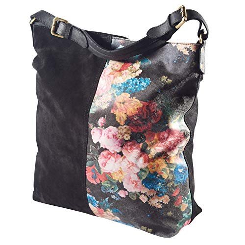 Catalog Classics Women's Suede and Floral Shoulder Bag - Black Leather Tote