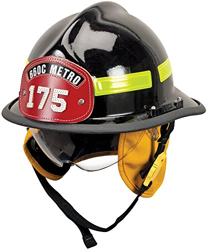 MSA 660DSB Cairns 660C Metro Composite Fire Helmet with Defender, Black, Standard Flannel Liner, Nomex Earlap, Lime/Yellow Reflexite, Bar