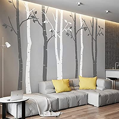 N.SunForest 7.8ft White Birch Tree Vinyl Wall Decals Nursery Forest Family Tree Wall Stickers Art Decor Murals - Set of 8: Home & Kitchen