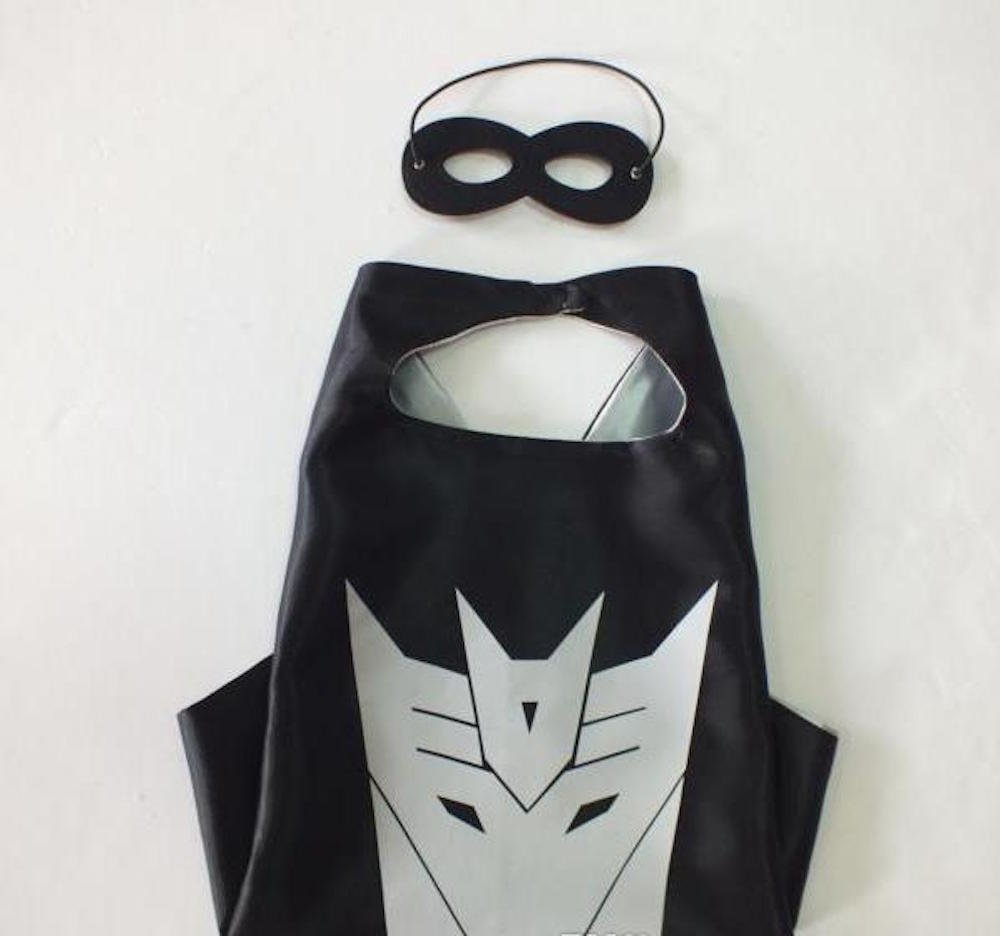 Ontario Warehouse Over 35+ Styles Superhero Halloween Party Cape and Mask Set for Kids (Decepticon)