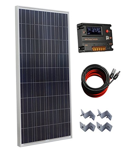 ECO-WORTHY 160W Polycrystalline Off Grid Solar Panel Kit with 20A Auto Switch LCD Intelligent Regulator Charge Controller by ECO-WORTHY