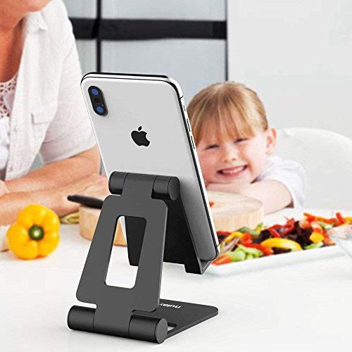 "Nulaxy Adjustable Phone Stand, Cell Phone Stand, Phone Holder for Desk Cradle Dock Compatible with Phone 11 Pro Xs Xs Max Xr X 8, iPad mini, Nintendo Switch, Tablets (7-10""), All Phones"