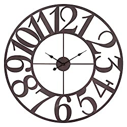 Patton Wall Decor 40 Inch Oversized Bronze Metal Cut Wall Clock Brown