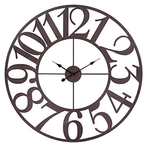 Patton Wall Decor 40 Inch Oversized Bronze Metal Cut Wall Clock Brown (Metal Wall Brown)