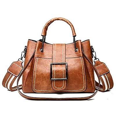 Kingto Women Oil Leather Handbag Messenger Bag Tote Top-Handle Shoulder Bag Multi-Pocket Crossbody Bag for Ladies