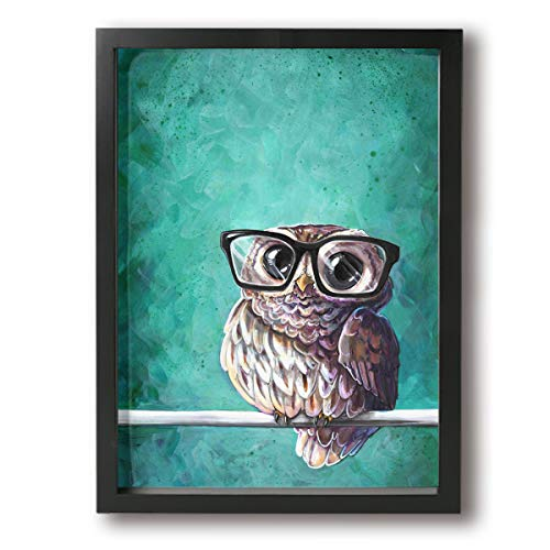 Martoo Art Owl Glasses 12x16in Beautiful Upcycled Dictionary Page Book Art Print Framed Prints Perfect Love Gift Anniversary,Wedding,Birthday Holidays -