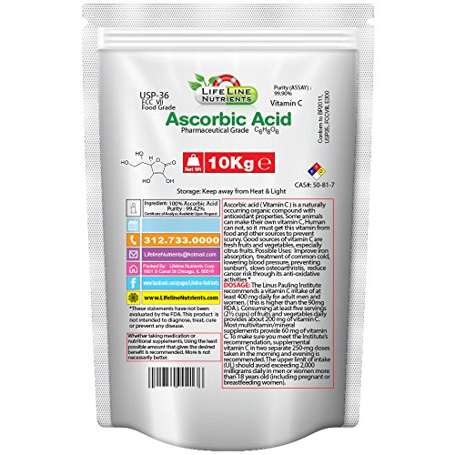 10kg (22lbs), 100% Pure Ascorbic Acid, Vitamin C - Free Shipping by Lifeline Nutrients