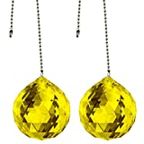 CrystalPlace Ceiling Fan Pull Chain 30mm Swarovski Strass Light Topaz Faceted Ball Prism Fan Pulley Set of 2