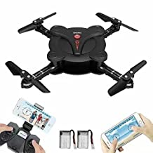 Mini Pocket Foldable Drone, RC Quadcopter with WiFi FPV Camera Live Video, Altitude Hold&3D Flips&Gravity Sensor controlled by APP or remote control
