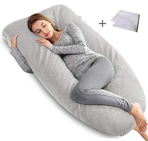 Gray with Washable Stretch Jersey Cover U Shaped Maternity Pillow for Back Pain Relief and Pregnant Women AngQi 55-inch Full Body Pregnancy Pillow