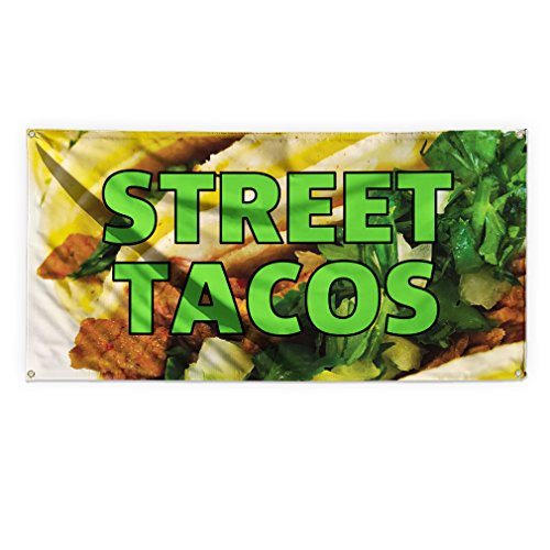 Street Tacos #2 Outdoor Advertising Printing Vinyl Banner Sign With Grommets - 2ftx3ft, 4 Grommets by Sign Destination
