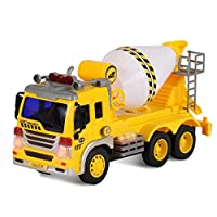 ToyThrill Friction Powered Cement Mixer Push and Go Construction Toy for Boys and Girls with Lights and Sounds - Realistic 1:16 Scale Design