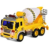 Friction Powered Cement Mixer Push and Go Construction Toy for Boys and Girls with Lights and Sounds - Realistic 1:16 Scale Design - by ToyThrill