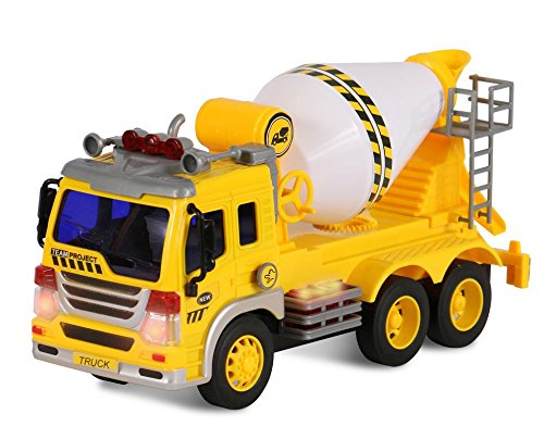 Friction Powered Cement Mixer Push and Go Construction Toy for Boys and Girls with Lights and Sounds - Realistic 1:16 Scale Design - by ToyThrill (Toys Boys Big For)