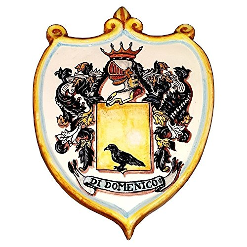 CERAMICHE D'ARTE PARRINI - Italian Ceramic Art Pottery Tile Custom House Family Crest Plaques Decorative Hand Painted Made in ITALY (Italian Family Crest)