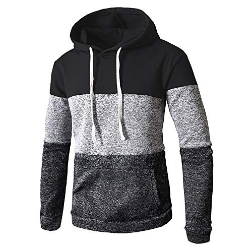Toimothcn Mens Camouflage Hoodies Sweatshirts Casual Slim Fit Zip Hooded Pullover Blouse Top (Black,XXL)