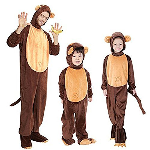Halloween Animal Cosplay Monkey Costumes Parent-Child Hooded Pyjamas (Medium) ()
