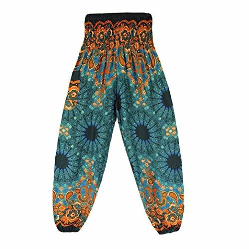 Qisc Women Pants Women's Yoga Pants, Women's Rayon Print Smocked Waist Boho Harem Pants Outfits Peacock Design One Size Fits - Outfit Capri Smocked