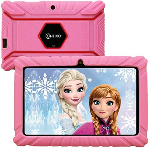 Contixo V8-2 7 inch Kids Tablets - Tablet for Kids with Parental Control - Android Tablet 16 GB HD Display Durable Case & Screen Protector WiFi Camera-Learning Toys for two to ten Years Old, Pink
