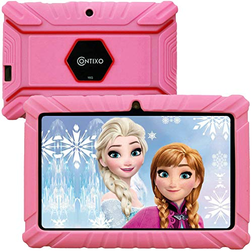 """Contixo V8-2 7"""" Edition Android 16GB Kids Tablet Parental Control 20 Learning Education Apps on Google Certified Playstore Toy Tablet for Kids, Kids- Proof, WiFi Camera Best Gift (Pink)"""