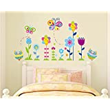 ufengke® Cartoon Owls Butterflies and Flowers Wall Decals, Children's Room Nursery Removable Wall Stickers Murals