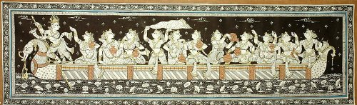 Singing and Dancing on the Ferry Boat of Love - Paata Painting on Tussar Silk Fabric - Folk Art from