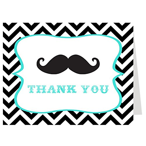 Mustache Thank You Cards Baby Shower Chevron Stripes Black Turquoise White Blue Aqua Boys It's A Boy Sprinkle Birthday Party Thanks A Little Man Hipster (50 count)