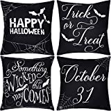 Jetec 4 Pieces Halloween Pillow Case Wicked Halloween Throw Cushion Cover Cotton Linen Pillow Decor, 18 by 18 inch
