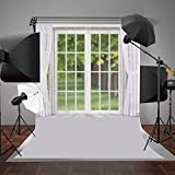 5x7ft Living Room Photography Background Indoor Glass Window and White Curtain Photo Backgrounds Backdrop