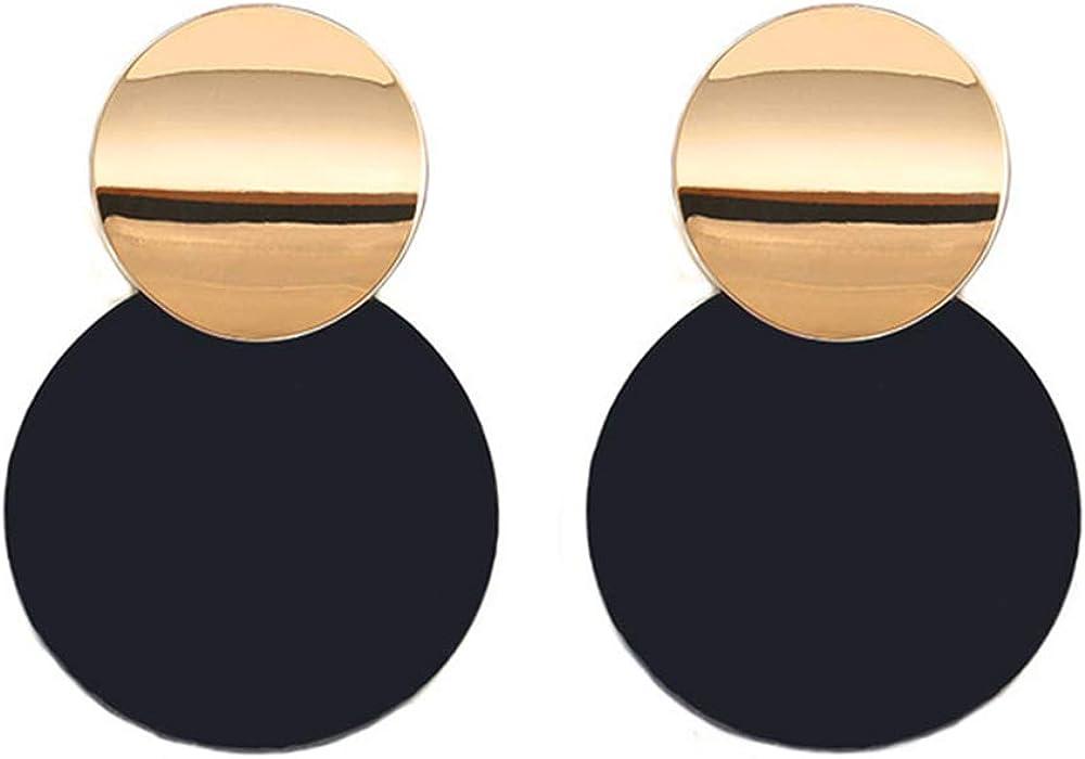 Pendientes CHENQ Pendientes Pendientes geométricos redondos de metal para mujer Pendientes colgantes Pendientes colgantes Joyería moderna Juego de palabras